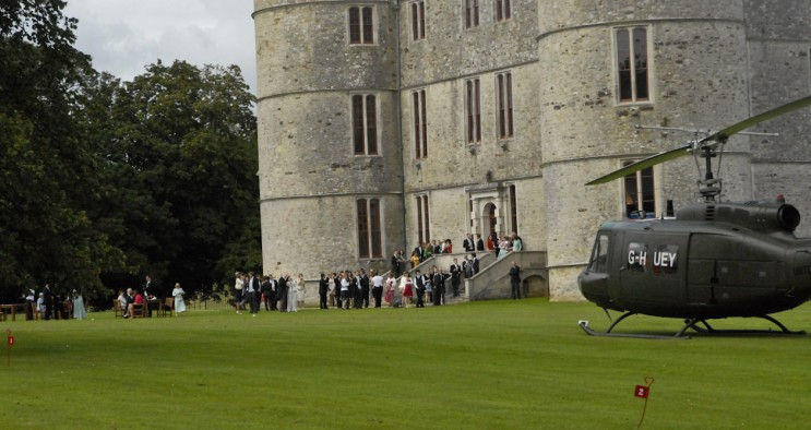 Lulworth Castle Wedding Huey Helicopter